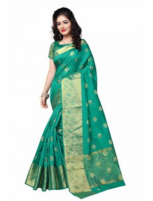 Buy Multi Retail Blue Cotton Silk Party Wear Jacquard/ Self Design Saree With Unstitched Blouse online