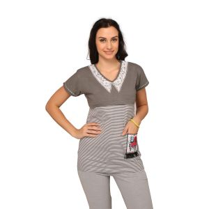 Buy De'Moda Women'S Striped Grey Maternity Top online