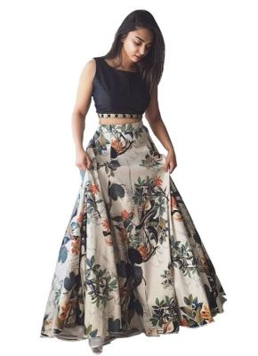 Buy Helix Enterprise New Cream & Black Floral Printed Lehenga Choli online