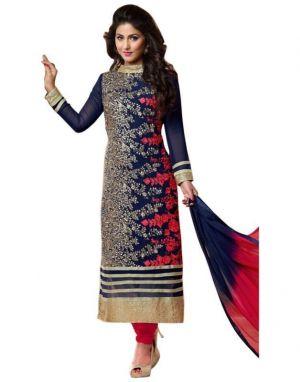 Buy Look N Shop Women's Blue Georgette Dress Materials(h114) online