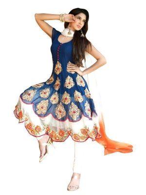 Buy Blue Designer Semi Stitched Anarkali Salwar Suit-(code-ebsfsk302033) online