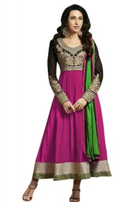 Buy Designer Purple Semistitched Anarkali Suit online