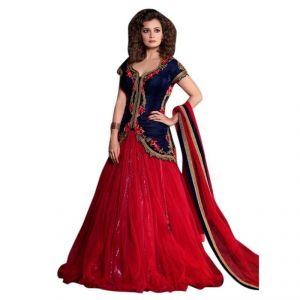 Buy Aagaman Fashion Net ,velvet Red Embbroidered Lehenga Choli online