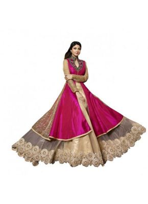 Buy Rozdeal Pure Silk Weaved Embroidery Pink Designer Lehenga Choli online