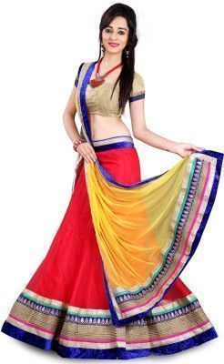 Buy Pramukh Group Red And Yellow Designer Lahenga online