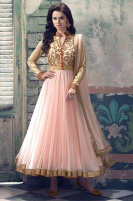 Buy Kia Fashions Bollywood Replica Navlika Baby Pink Color Georgette Dress online