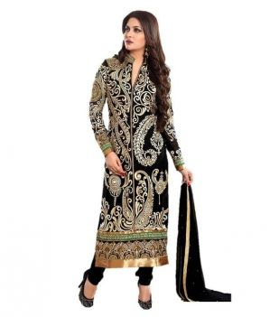 Buy Jenil Creation Exclusive Black Semi Stitched Straight Suit- Jcn113 online