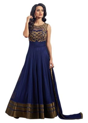 Buy Styles Closet New Latest Designer Blue Semi Stiched Anarkali Salwar Suit online