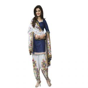 Buy Kia Fashions Stanzin Blue & White Color Printed Dress online
