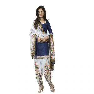 Buy Kia Fashions Stanzin Blue & White Color Printed Dress online