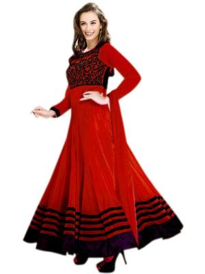 Buy Fabliva Latest Designer Heavy Red Embroidery Anarkali Suit online