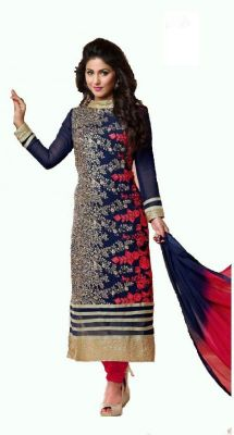 Buy Metroz Designer Latest Bollywood Style Embroidered Straight Sut With Dupatta online