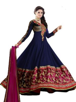 Buy Vandv Fabulous Heavy Embroidered Blue Floor Length Anarkali Suit online