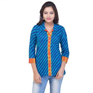 Buy Mystique India Blue Full Sleeve Round Neck Fusion Cotton Kurti For Women online