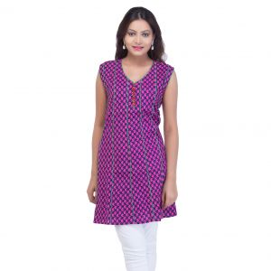 Buy Mystique India Pink Sleeveless V-Neck Designer Cotton Kurti for Women online