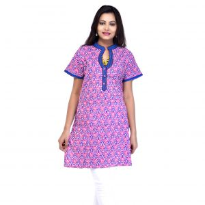 Buy Mystique India Pink Half Sleeve Chinese Collar Cotton Kurti For Women online