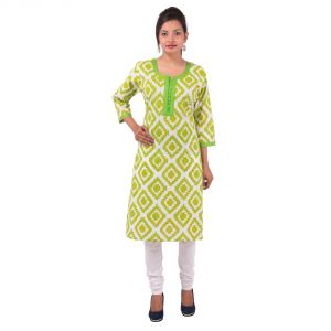 Buy Mystique India Light Green 3/4 Sleeve Round Neck Cotton Kurti For Girls online