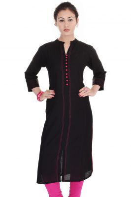 Buy Mystique India Black Solid Cotton Women Kurti online