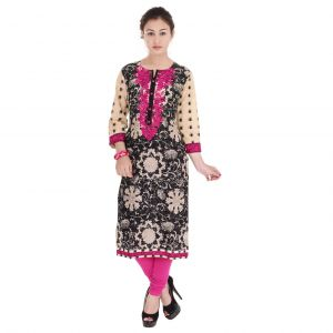 Buy Mystique India Black, Beige and Pink Embroidered Cotton Women Kurti online