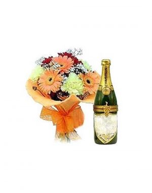 Buy Gifts Valley Champagne Gift With Fresh Flowers Gift Items online
