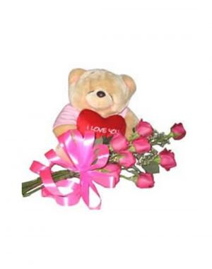 Buy Gifts Valley Teddy With Heart With 12 Roses Gift Items online