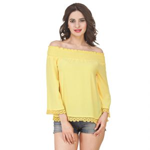 Buy Jollify Women's Yellow Off Shoulder American Crepe Top(product Code-ysyellowlaceoffshoulder-) online