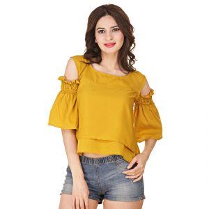 Buy Jollify Women's Mustard American Crepe Cut Shoulder Top(product Code - Cutshouldermustard-) online