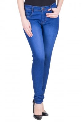 Buy Myshka Women's Blue Cotton Lycra Slim Fit Jeans(jw642) online