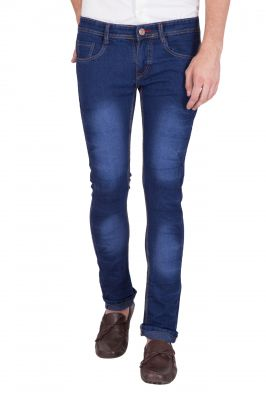 Buy Jollify Mens Cotton Blend Stretchablel Navy Blue Jeans (product Code - J529nevy Blue) online