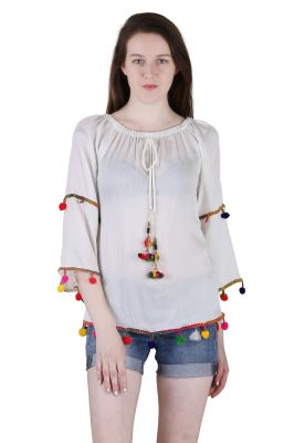 Buy Jollify Women's Rayon White Plain Top (ktiptopowht-) online