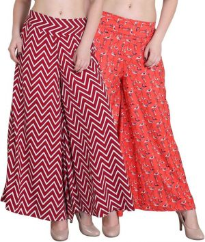 Buy Jollify Regular Fit Women'S Maroon And Orange Plazzo Packup 2 online
