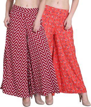 Buy Jollify Regular Fit Women's Maroon And Orange Plazzo Packup 2(pz002maronpz08org) online