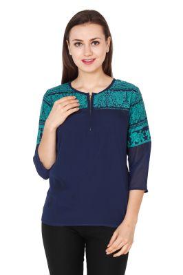 Buy Jollify Women's Elephantprinted Blue Top(stop01elephantblue) online