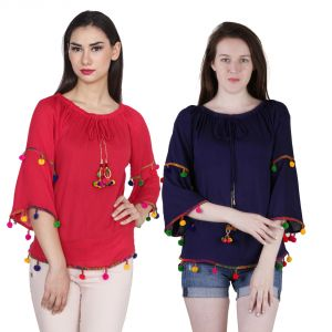 Buy Jollify Women's Blue And Red Rayon Embroidered Top Combo(pak Of 2)(product Code -tiptopbluered- ) online