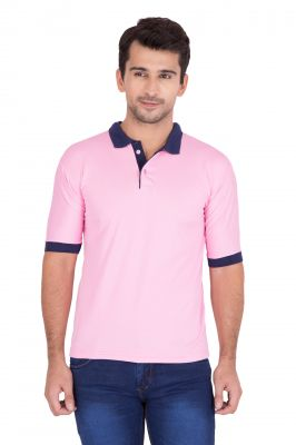 Buy Jollify Men's Polo Collar Pink T-shirt(product Code-tscontrastpink) online