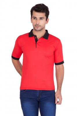 Buy Jollify Mens Polo Collar Red T-Shirt online