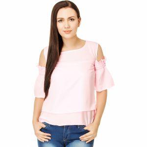 Buy Jollify Cut Shoulder Pink Colour Fashionable Women's Top(product Code - Cutshoulderpink_) online