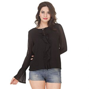 Buy Jollify Women's Black Chiffon Doted Top (product Code -ysblackbardot- ) online