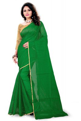Buy Aar Vee Green Cotton Weaving Designer Saree With Unstitched Blouse online