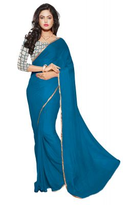 Buy Aar Vee Sky Blue Colour Nazmin Plain Saree With Net Embroiered Blouse Gm13 online
