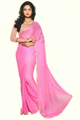 Buy Aar Vee Light Pink Colour Nazmin Plain Saree With Net Unstitched Blouse Gm7 online