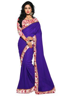 Buy Aar Vee Purple Colour Faux Georgette Saree With Unstitched Blouse Rv104 online