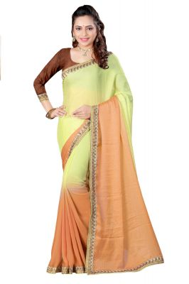 Buy Aar Vee Green & Beige Colour Embriodered Faux Georgette Saree With Unstitched Blouse online