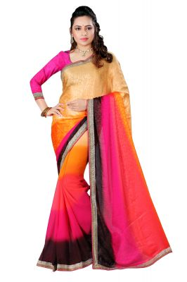Buy Aar Vee Multi Colour Embriodered Faux Georgette Saree With Unstitched Blouse online