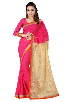 Buy Aar Vee Pink Colour Embriodered Faux Georgette Saree With Unstitched Blouse Rv125 online