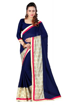 Buy Aar Vee Navy Blue Colour Embriodered Faux Georgette Saree With Unstitched Blouse Rv126 online