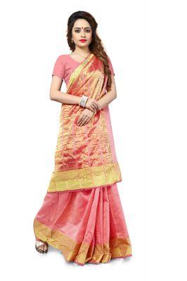 Buy Aar Vee Orange Art Silk Weaving Designer Saree With Unstitched Blouse Srn1112f online