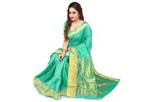 Buy Aar Vee Sea Green Art Silk Weaving Designer Saree With Unstitched Blouse online
