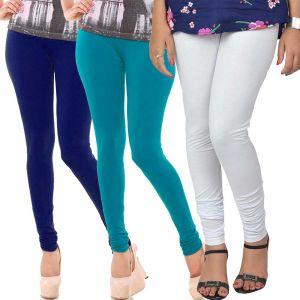 Buy Vivan Creation Women Stylish Colorful Comfortable 3 PC Cotton Churidaar Leggings Set (product Code - Dl5comb718) online