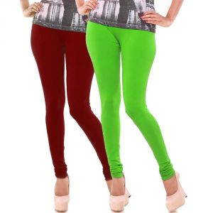 Buy Vivan Creation Stylish Comfortable N Colorful Pair Of Women Cotton Churidaar Leggings (product Code - Dl5comb734) online